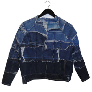 upcycled, reversible, sustainable denim jacket. Genderless style fashion.