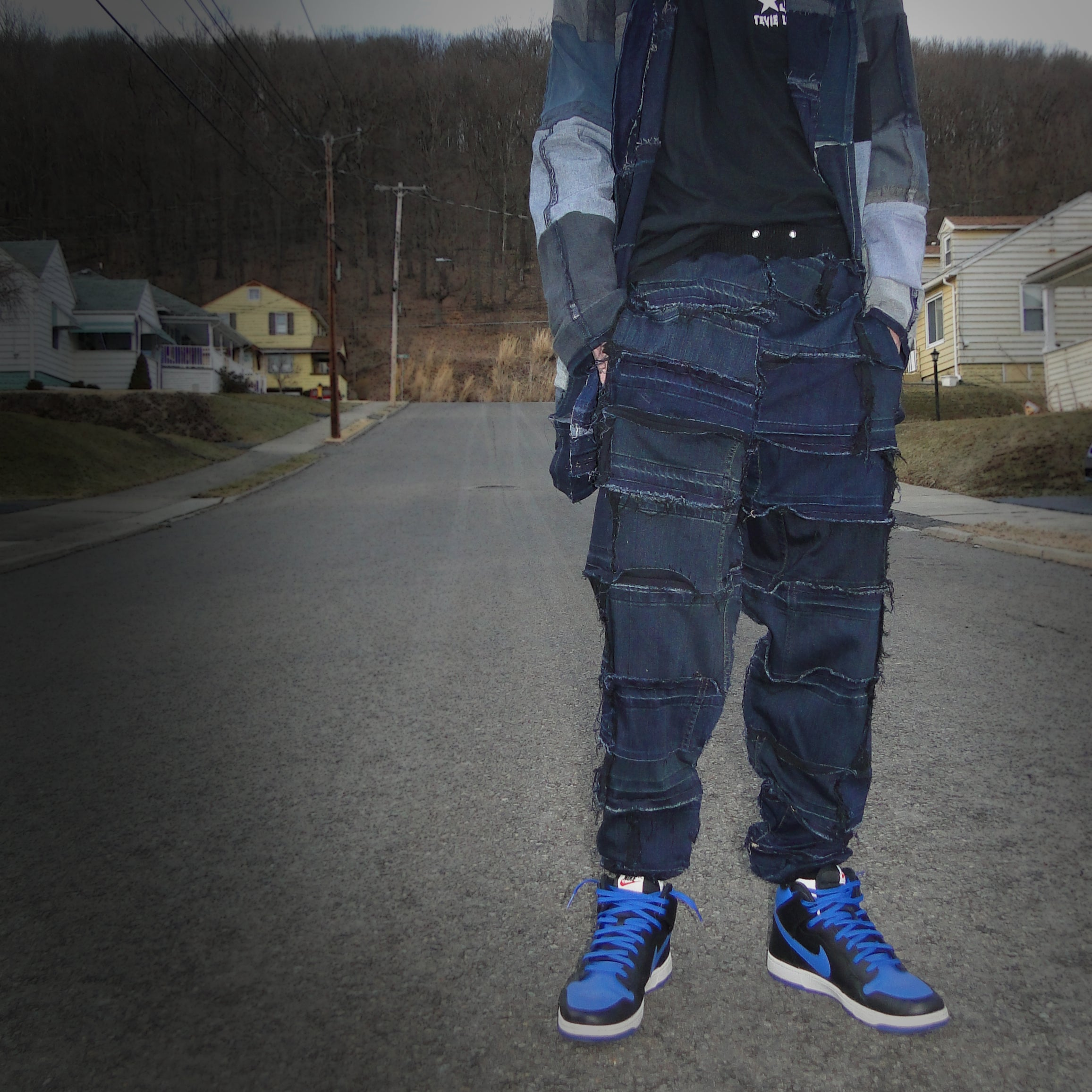 upcycled, reversible, sustainable denim joggers. Genderless style fashion.