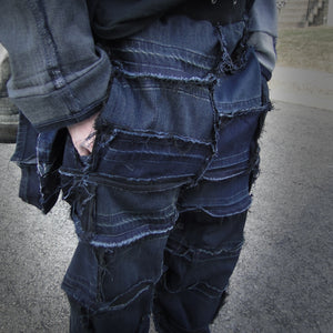 upcycled, reversible, sustainable denim joggers