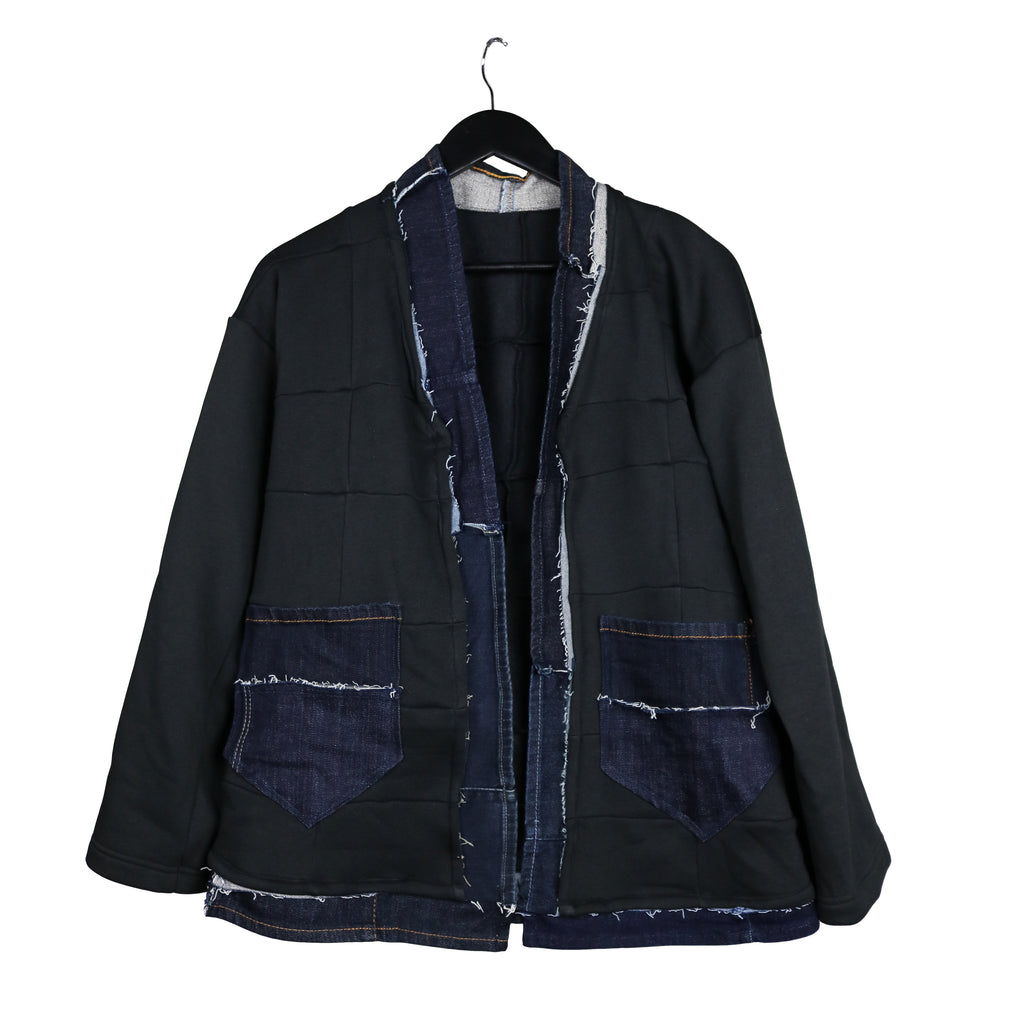 Upcycled sweatshirt fleece kimono with denim #REMIXbyStevieLeigh