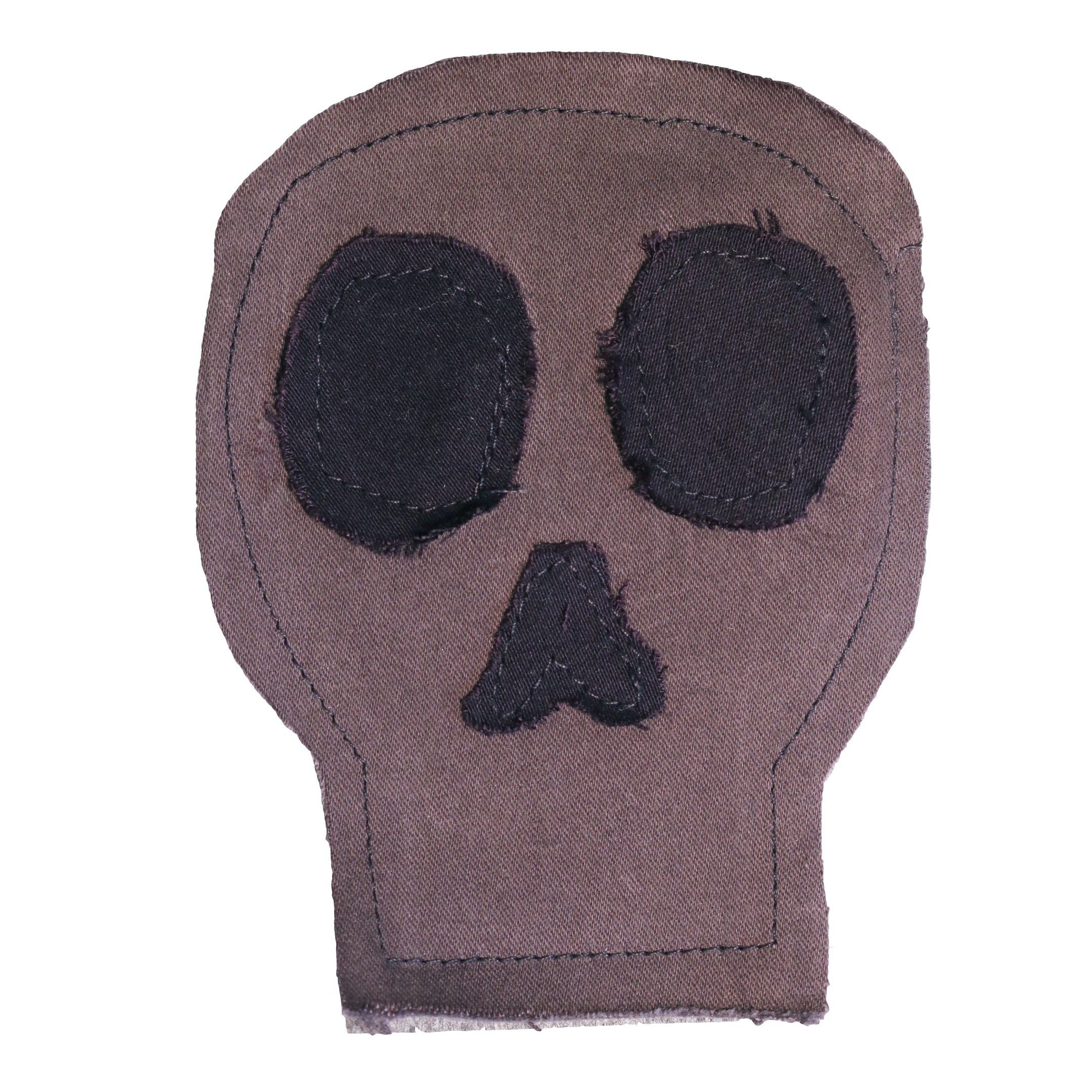 remix by stevie leigh upcycled denim skull patch grey