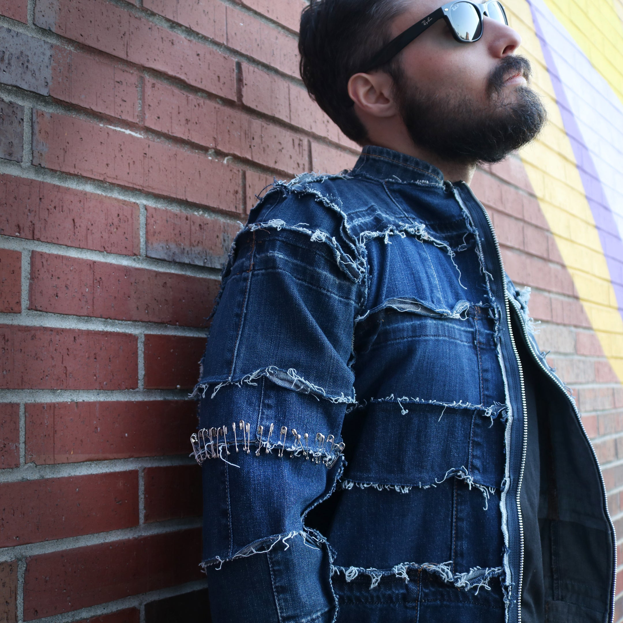 #REMIXbyStevieLeigh genderless upcycled denim jacket safety pin sleeves