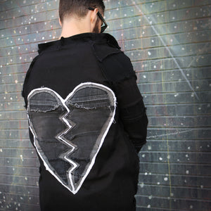 #REMIXbyStevieLeigh broken heart genderless upcycled denim jacket
