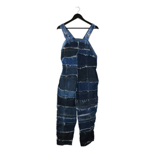 genderless upcycled denim overalls dungarees