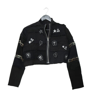 #REMIXbyStevieLeigh reversible upcycled black denim jacket with patches and pins