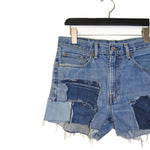 #REMIXbyStevieLeigh reversible upcycled patchwork festival shorts