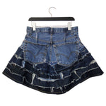 genderless upcycled denim skirt