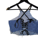 upcycled denim skull halter top lace up back