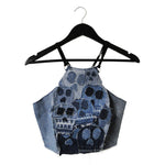 upcycled denim skull halter top