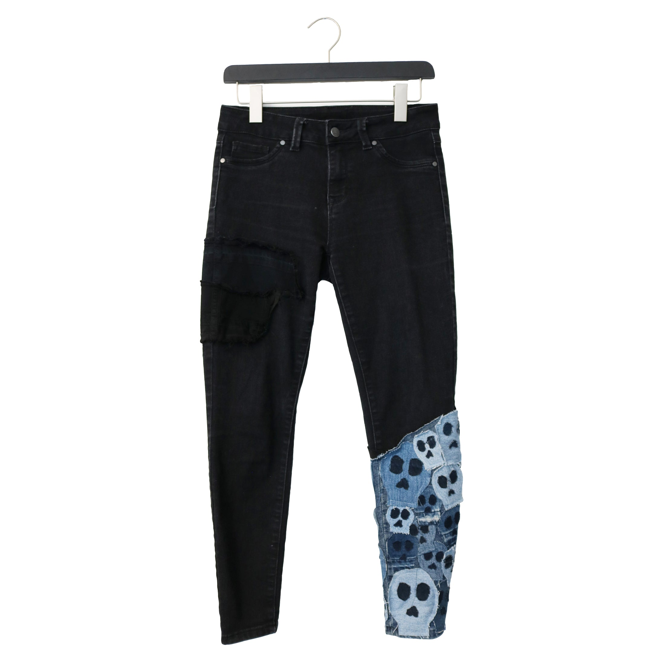 #REMIXbyStevieLeigh eco friendly skull patchwork jeans