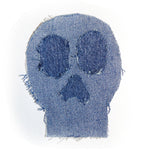 upcycled denim skull iron on patch
