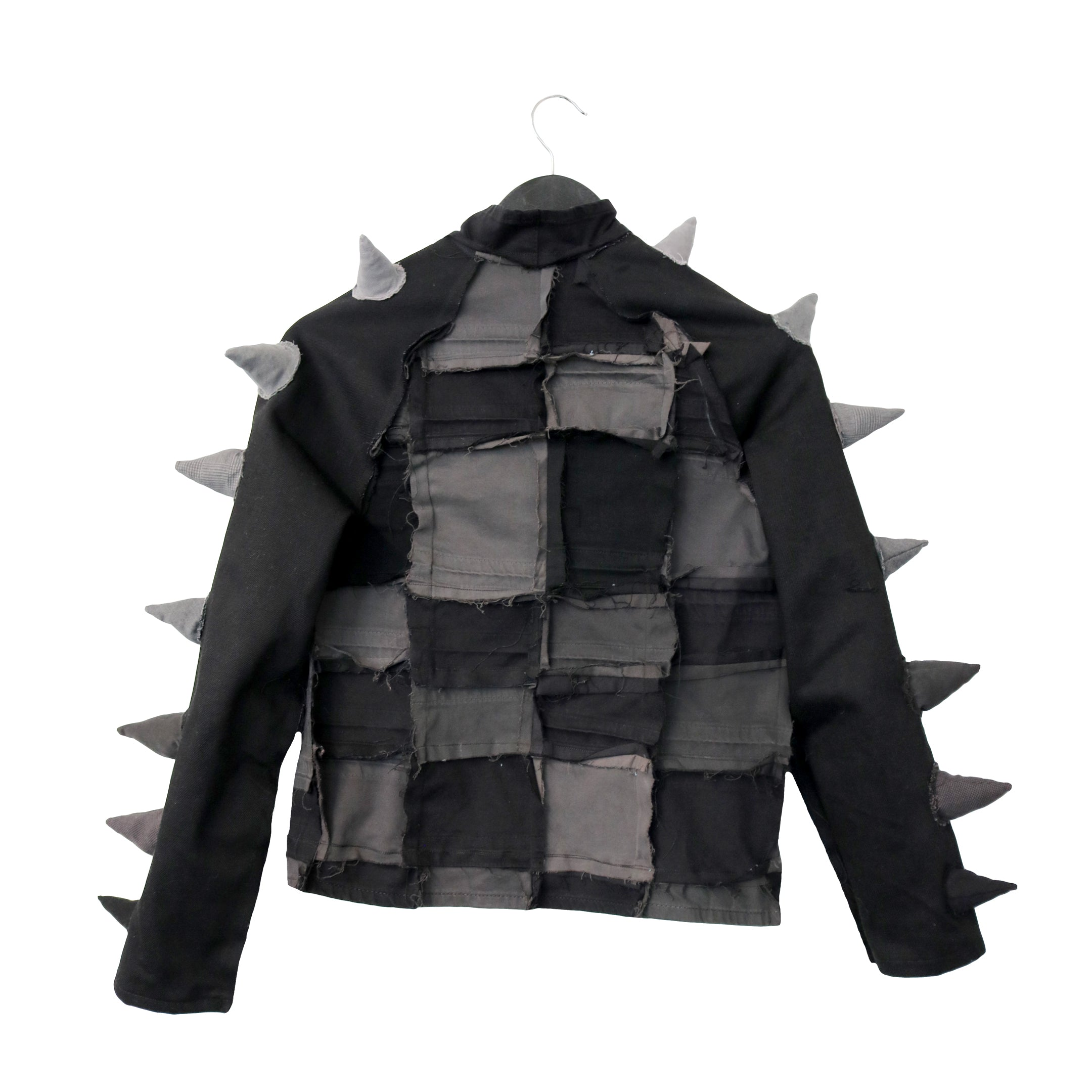 #REMIXbyStevieLeigh genderless upcycled denim jacket with soft spikes