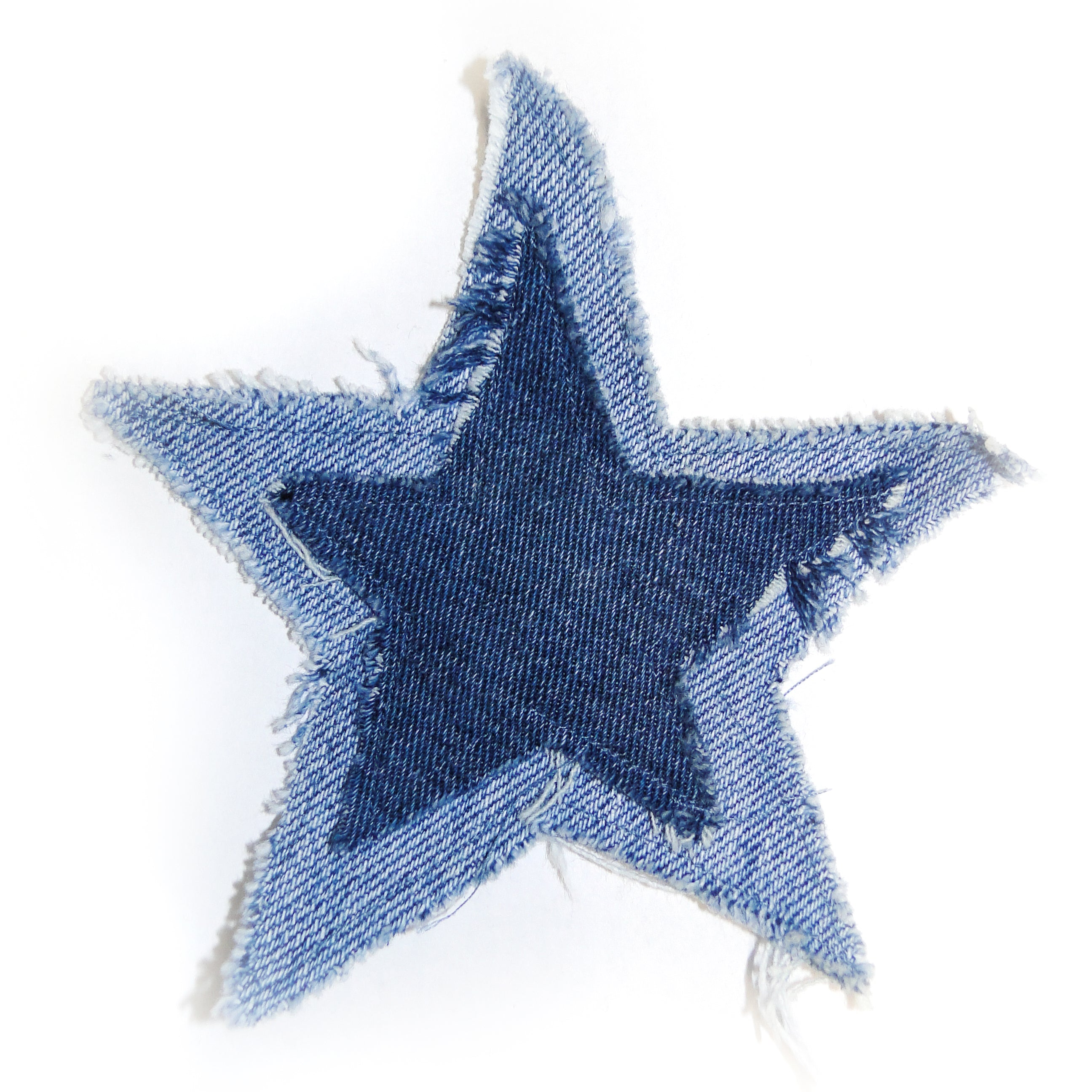 upcycled denim star iron on patch