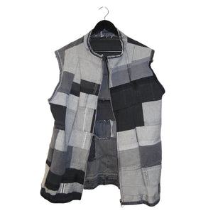 upcycled denim patchwork reversible vest