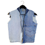 upcycled,  sustainable denim vest with fringe
