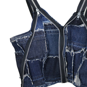 #REMIXbyStevieLeigh reversible upcycled denim crop top with zippers