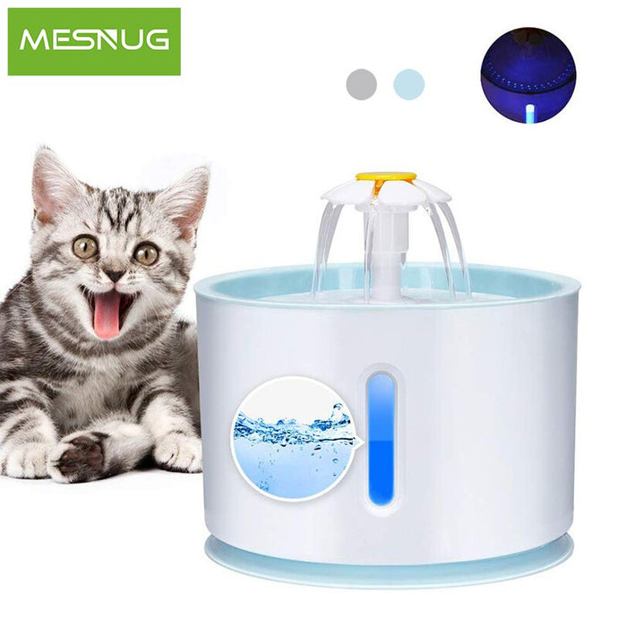 MESNUG Automatic Cat Fountain 2.4L Safe Kitten Water Dispenser With LED Light Quiet Pet Filter Drinking Fountain Easy To Clean