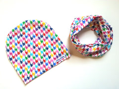 Rainbow Houndstooth Beanie and Scarf Set