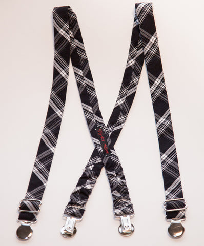 Black & White Plaid Suspenders