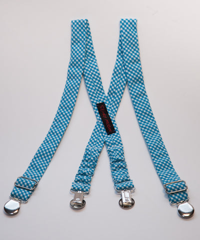 Blue Gingham Suspenders