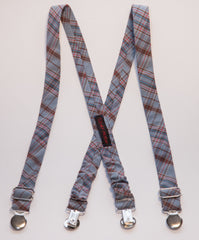Blue & Brown Plaid Suspenders
