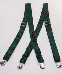 Green Checker Suspenders