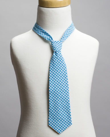 Blue Gingham Neck Tie