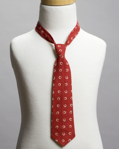 Maroon with Horseshoes Neck Tie