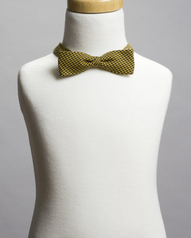 Mustard Houndstooth Bow Tie