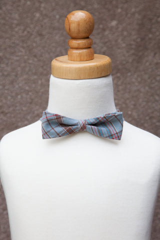 Blue & Brown Plaid Bow Tie