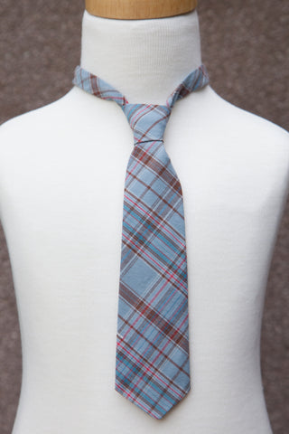 Blue & Brown Plaid Neck Tie