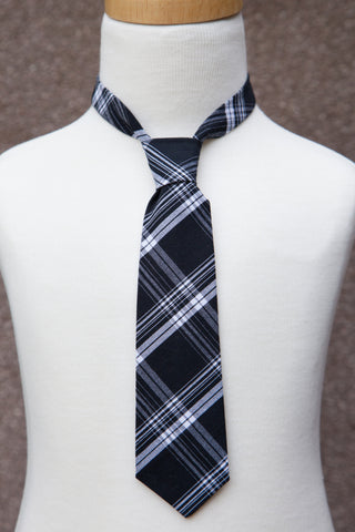 Black & White Plaid Neck Tie