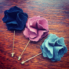 Faux Suede Flower Lapel Pin