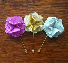 Leather Flower Lapel Pins