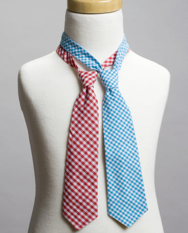 Gingham Neck Tie Set