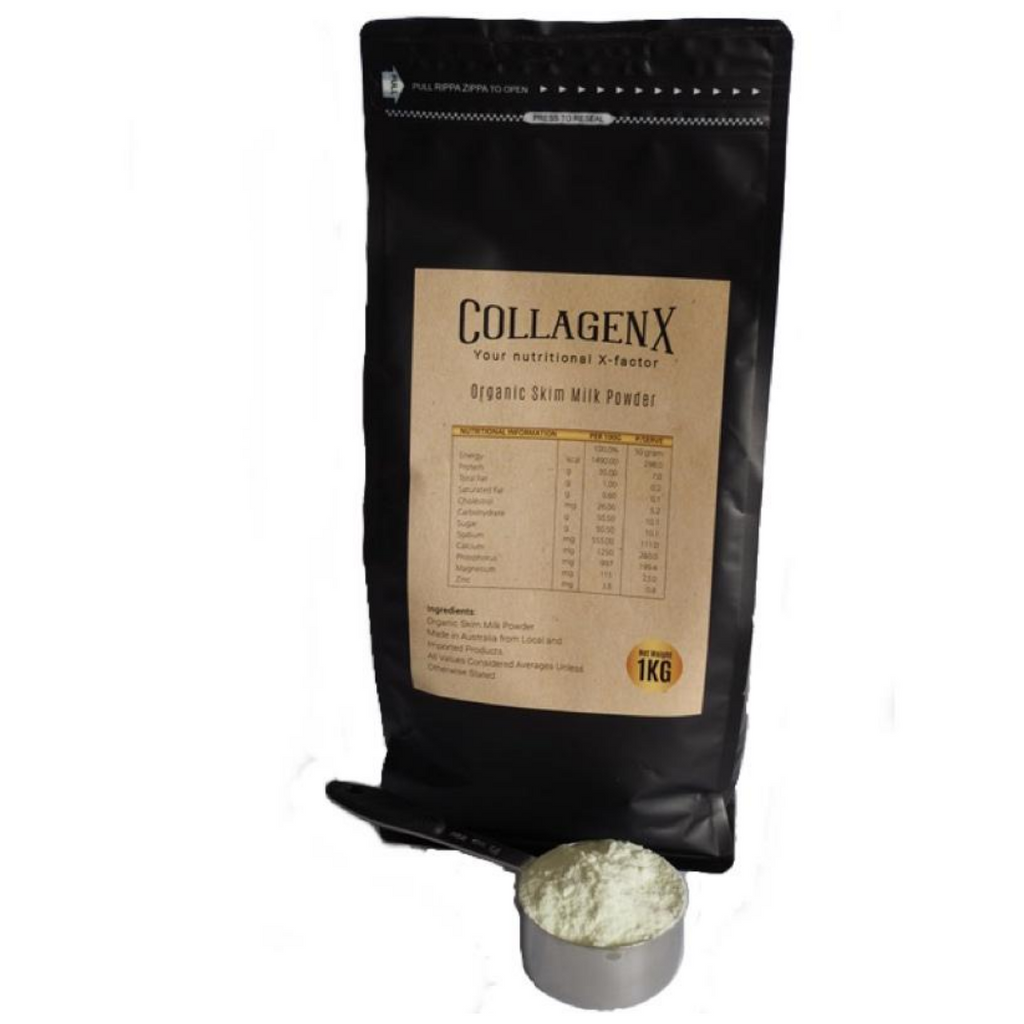 1kg packet of Collagenx Certified Organic skim milk powder