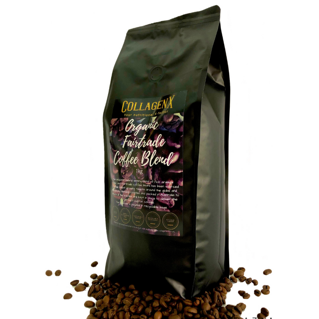 1kg pack of Collagenx Organic Fairtrade coffee bean blend