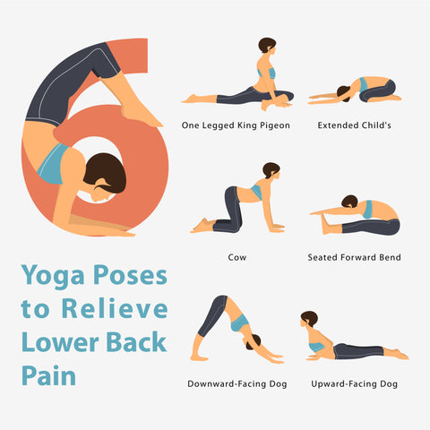 An infographic of yoga poses and text describing the different poses.