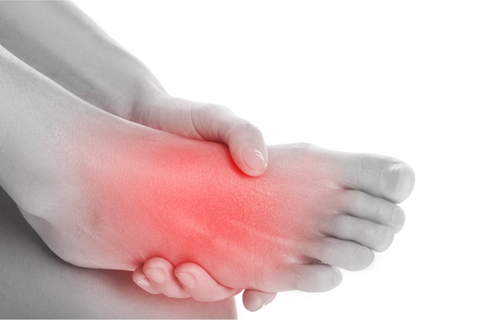 An image of someone's foot highlighted red to indicate inflammation.