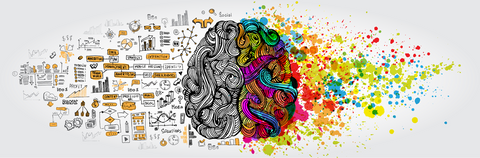 A human brain depicted as two hemispheres with the left showing colorful waves extending from the side to convey creativity and the right side of the brain represented by illustrations of logical paths and organizational texts.