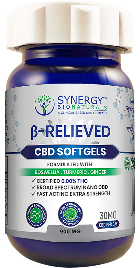 Synergy BioNaturals β-Relieved CBD soft gels isolated on pure white background.