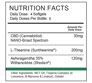 Nutrition label for Synergy BioNaturals stress relief formula β-Calmed.