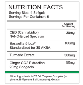 Nutrition label for Synergy BioNaturals pain relief formula β-Relieved.