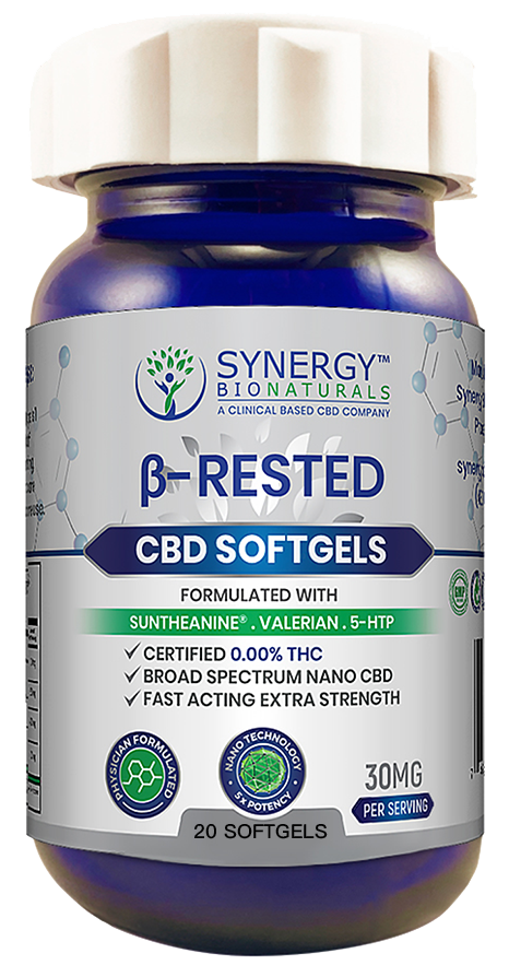 Synergy BioNaturals β-Rested CBD softgels isolated on a pure white background.