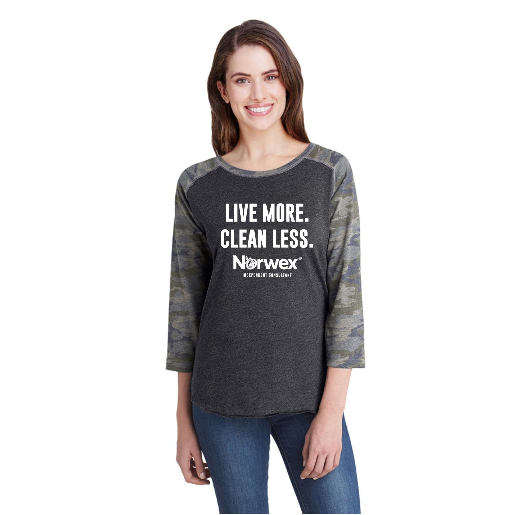 Norwex Independent Consutlant Camo Baseball Tee / Mission Possible. Live More. Clean Less.