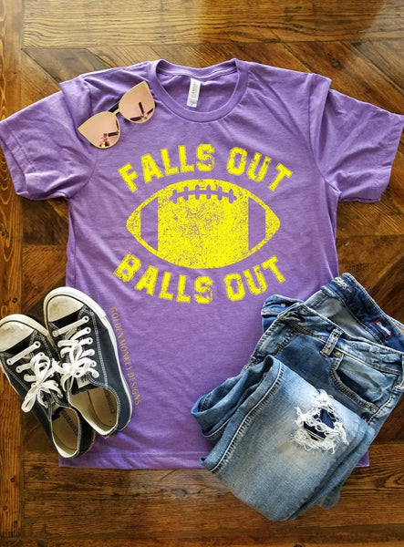 Gold Graphic Falls Out Balls Out Football Shirt