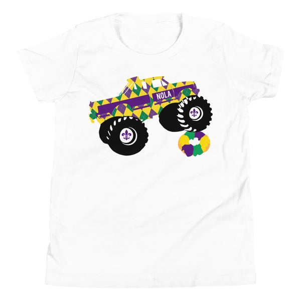 Mardi Gras Monster Truck Youth Shirt