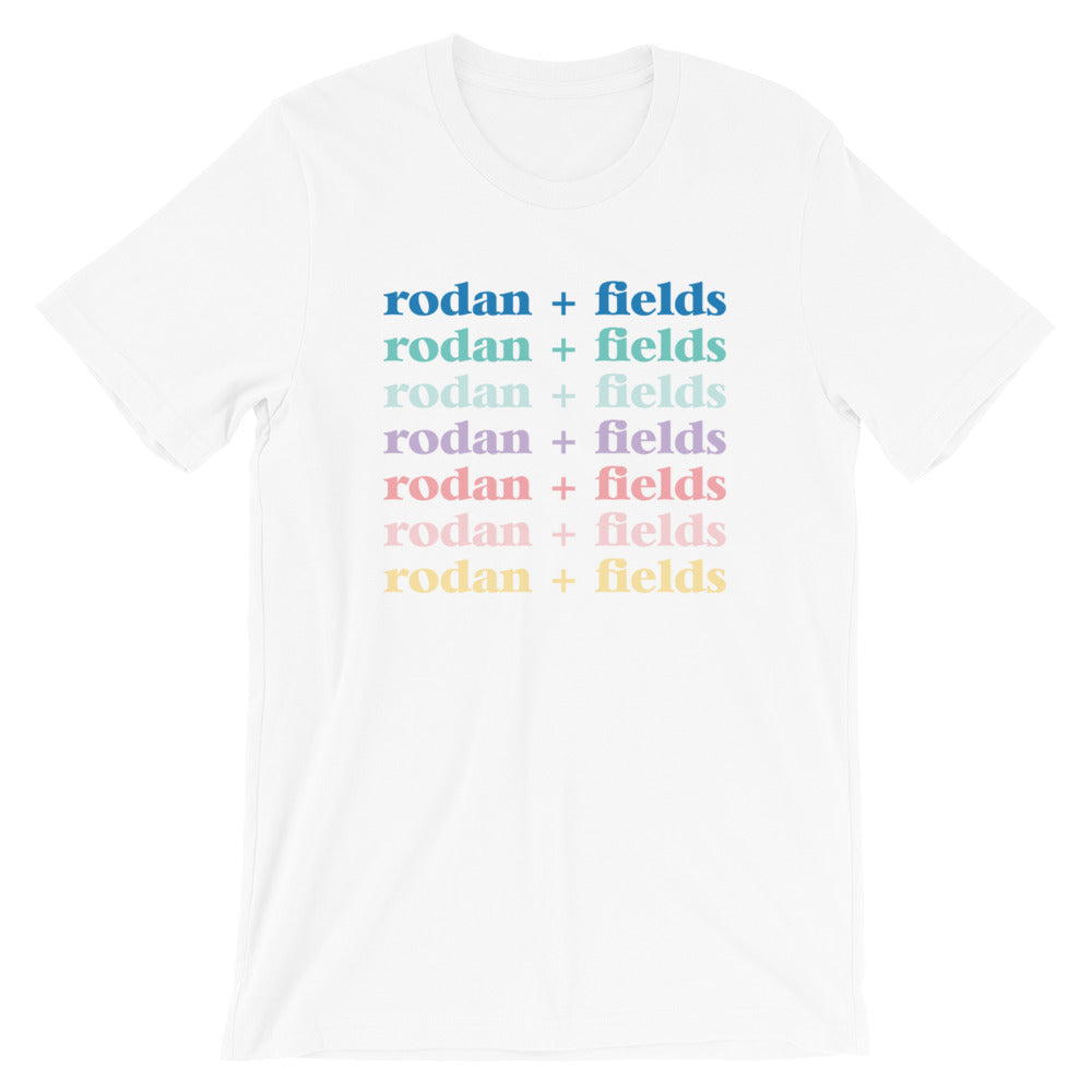 Skin Care Shirt with Color Gradient Repeating Text