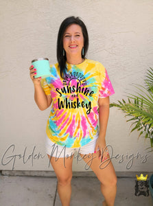 Sunshine and Whiskey on Yellow Tie Dye