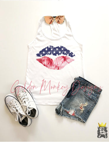 Patriotic Lips Stars & Tie Dye TANK & TEE OPTIONS